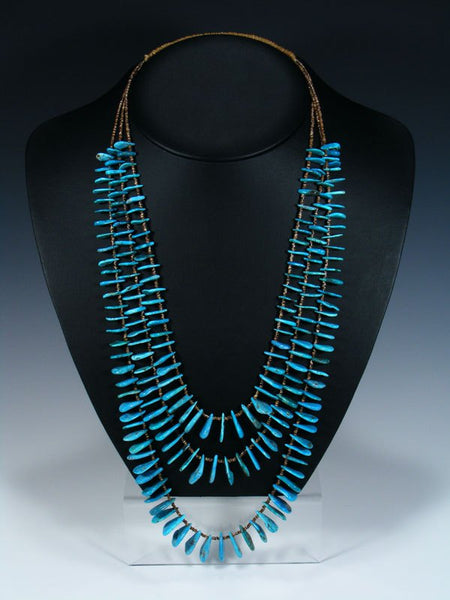Native American Turquoise Tab Three Strand Necklace