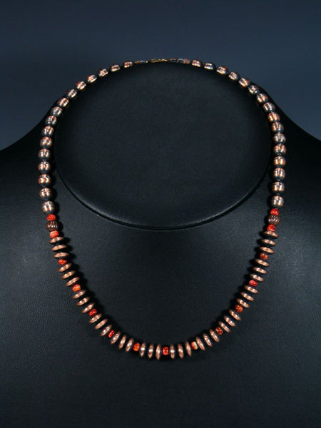 Native American Copper and Spiny Oyster Bead Necklace