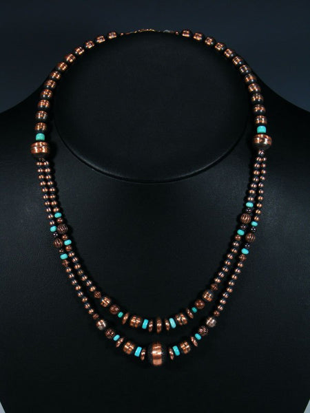 Native American Copper and Turquoise Bead Necklace