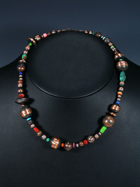 Native American Copper Multi Stone Bead Necklace