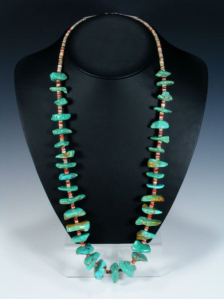 Single Strand Zuni Tyrone Turquoise Bead and Heishi Necklace