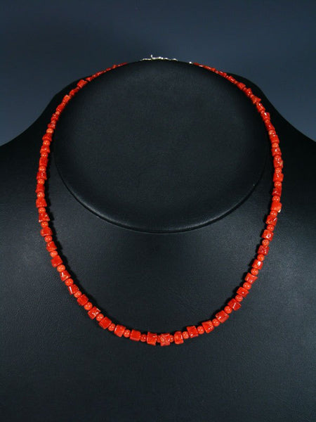 Native American Indian Natural Mediterranean Coral Necklace