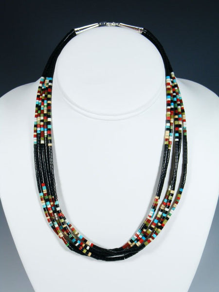 Native American Indian Bead Black Jet Santo Domingo Necklace