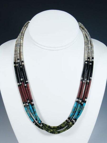 Santo Domingo Multi-Strand Turquoise and Jet Shell Necklace