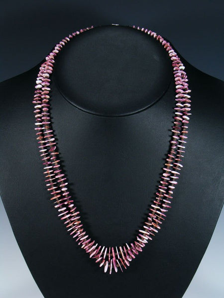 Native American Purple Spiny Oyster Heishi Double Strand Necklace
