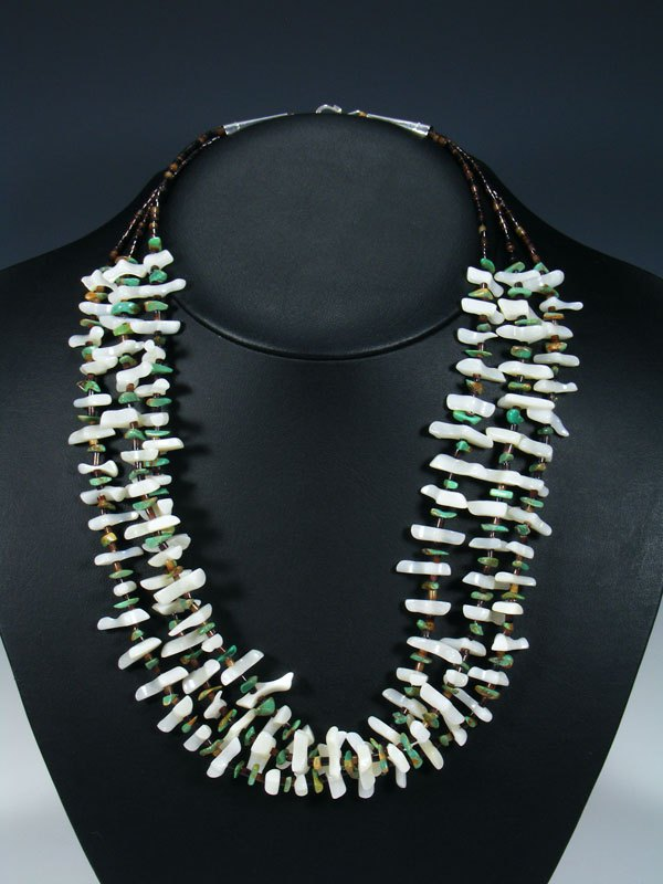 Native American Mother of Pearl and Turquoise Triple Strand Necklace