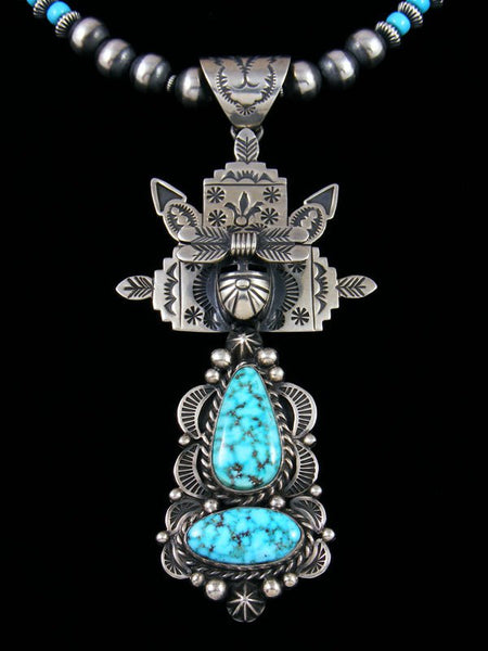 Native American Sterling Silver Kingman Turquoise Kachina Pendant