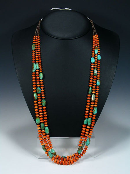 Native American Santo Domingo Spiny Oyster and Turquoise Necklace