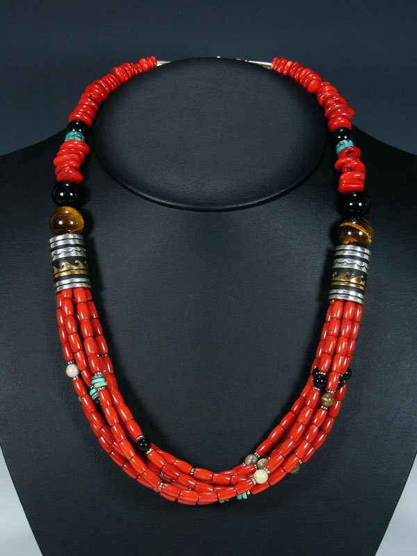Coral and Onyx Multi Strand Bead Necklace