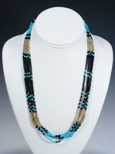 Santo Domingo Multi-Strand Turquoise and Jet Necklace