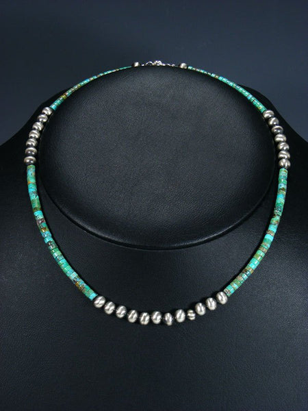 Native American Turquoise and Silver Bead Choker Necklace