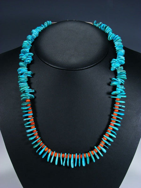 Navajo Single Strand Turquoise and Apple Coral Tear Drop Necklace