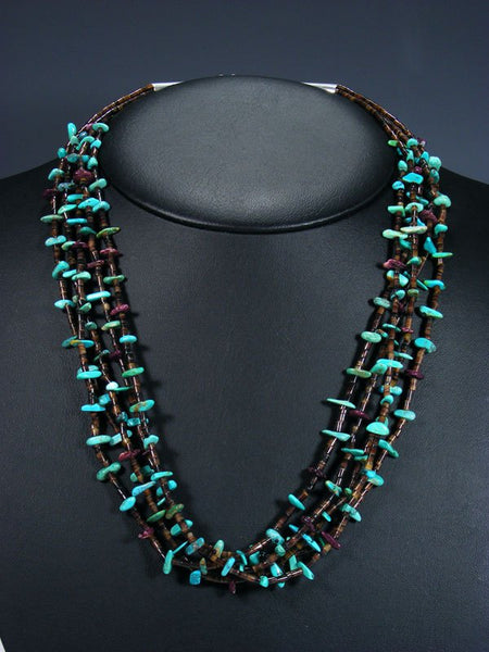 Native American Spiny Oyster and Turquoise Necklace