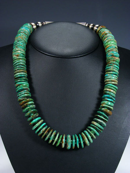 Native American Heavy Green Turquoise Chunky Disc Necklace