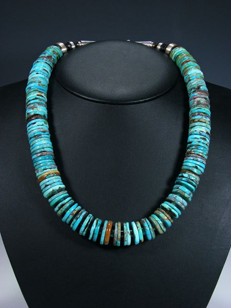 Native American Heavy Blue Turquoise Chunky Disc Necklace