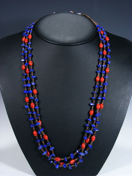 Native American Lapis and Coral Triple Strand Necklace