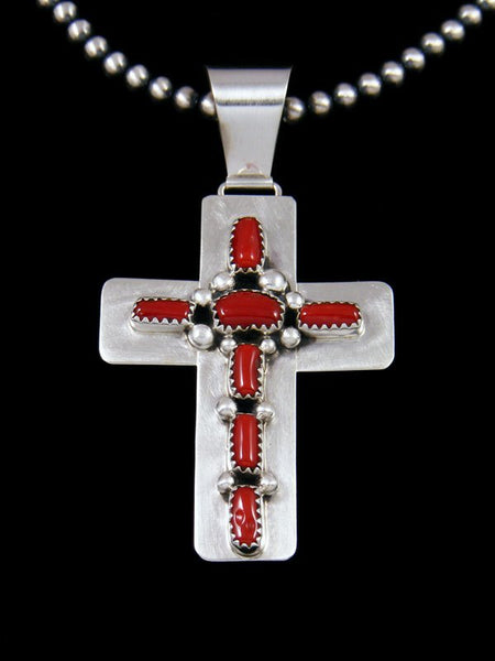 Native American Sterling Silver Coral Cross Bead Necklace