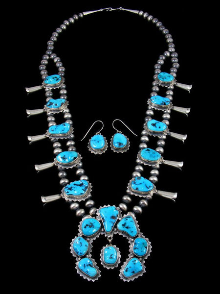 Native American Sterling Silver Sleeping Beauty Squash Blossom Necklace Set