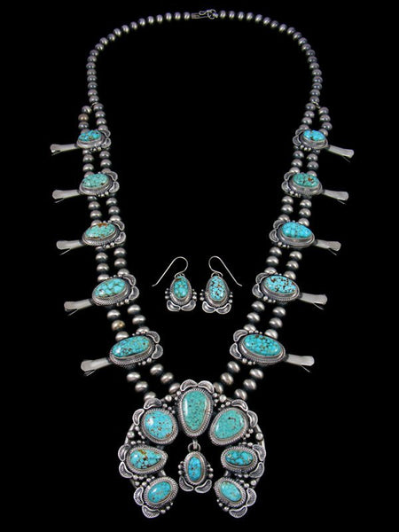 High Grade Natural Kingman Turquoise Squash Blossom Necklace Set