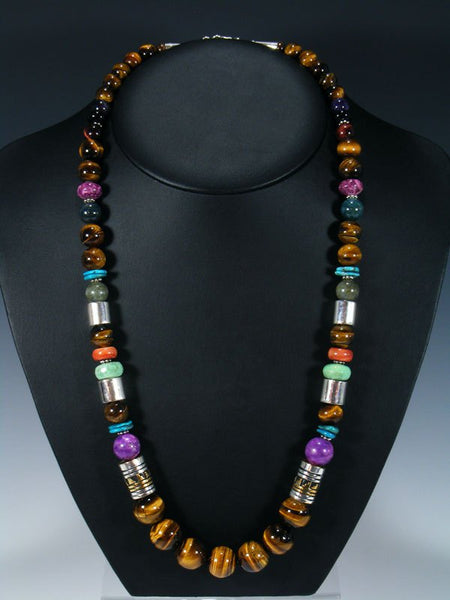 "Tiger Eye 28"" Single Strand Beaded Necklace"
