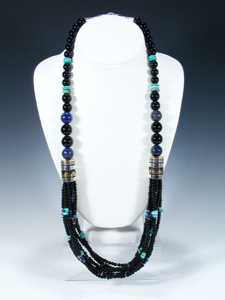 "Onyx and Turquoise Multi Strand 30"" Beaded Necklace"