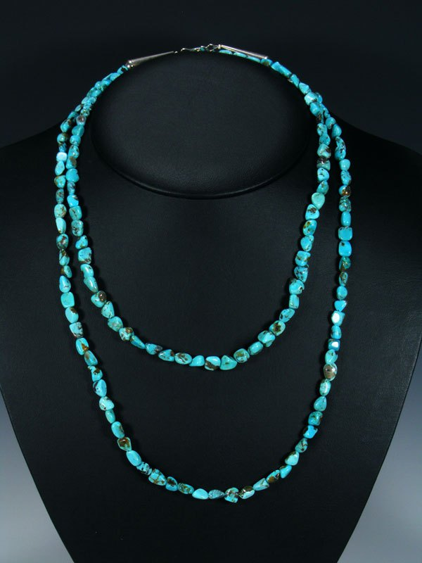 Extra Long Wrap Native American Indian Jewelry Single Strand Turquoise Necklace