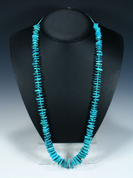 "33"" Native American Indian Jewelry Single Strand Turquoise Necklace"