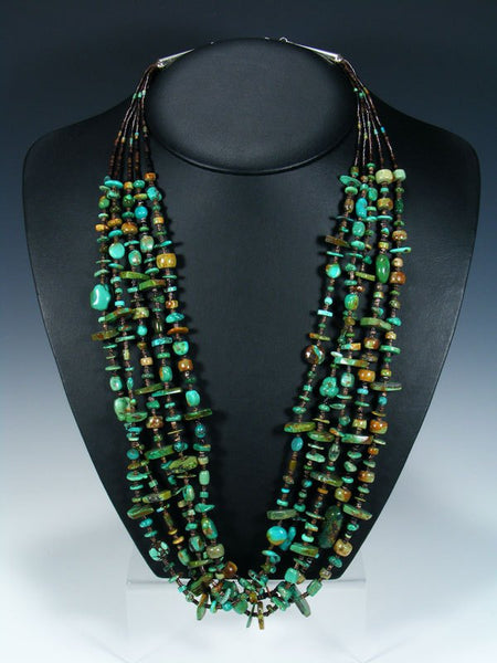 Five Strand Native American Turquoise and Shell Heishi Necklace