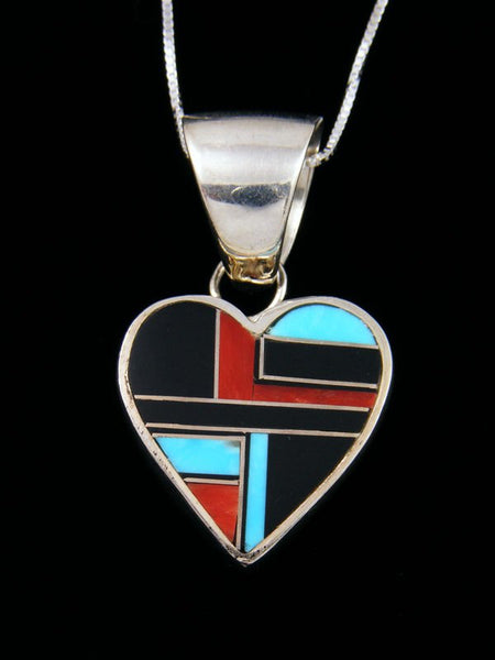 Native American Multistone Inlay Heart Pendant