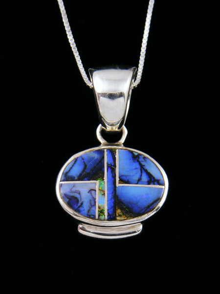 Native American Monarch Opal Inlay Pendant