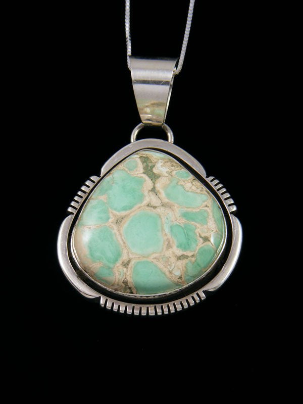 Native American Sterling Silver Lucin Variscite Pendant