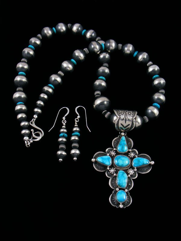 Kingman Turquoise Navajo Handmade Cross Necklace Set