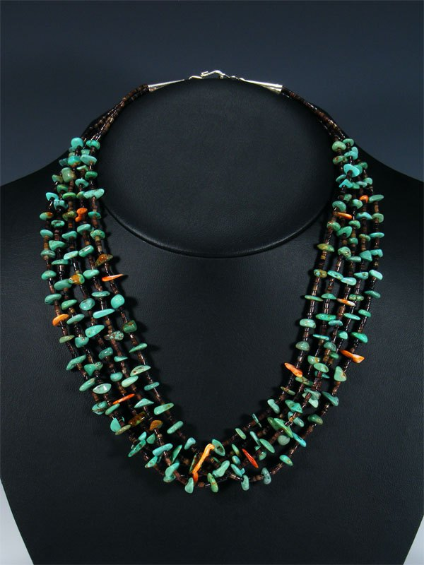 Native American Spiny Oyster and Turquoise Choker Necklace