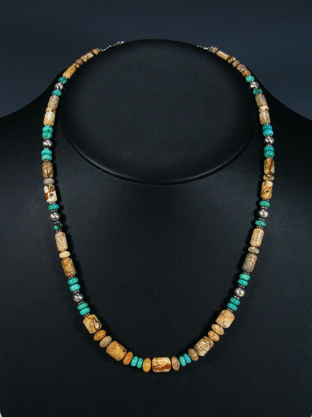 Navajo Jasper and Turquoise Single Strand Necklace