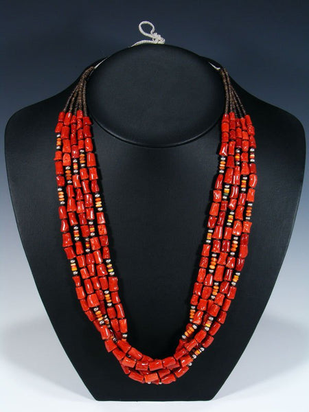 Native American Santo Domingo Natural Coral Necklace