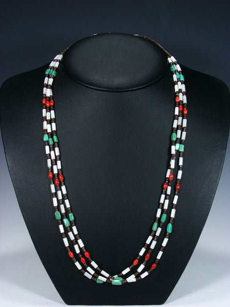 Native American Turquoise Heishi and Coral 3 Strand Necklace
