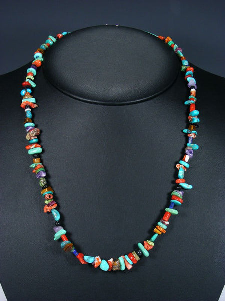 Native American Indian Single Strand Turquoise Beaded Treasure Necklace