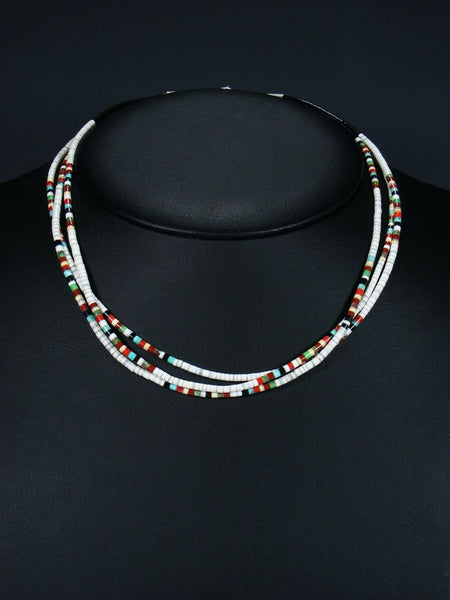 Native American Indian Bead Three Strand White Shell Necklace