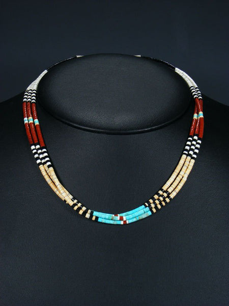 Native American Indian Bead Santo Domingo 3 Strand Multi-Stone Necklace