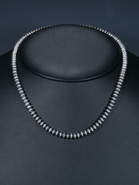 "18"" Native American Silver Bead Choker Necklace"