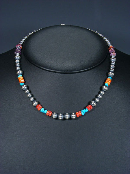 Navajo Sterling Silver Oxidized Bead Necklace