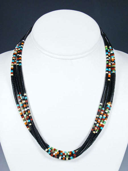 Native American Indian Bead Black Jet Santo Domingo 5 Strand Necklace
