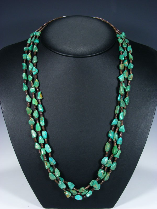 Native American Indian Santo Domingo Three Strand Turquoise Necklace