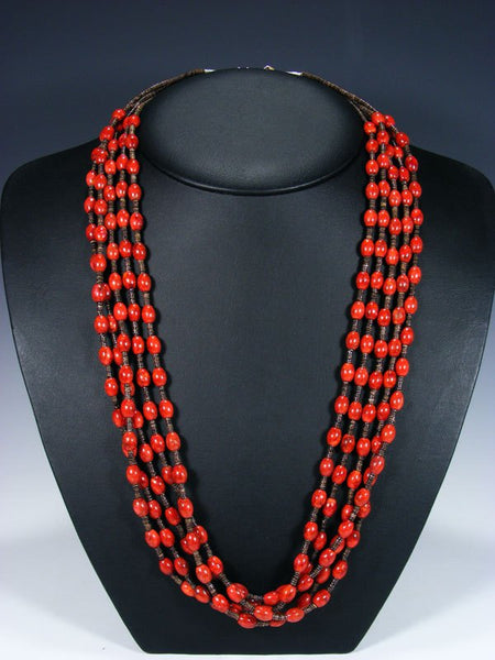 Native American Coral and Heishi Five Strand Necklace