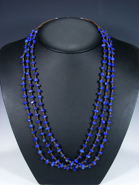 Native American Lapis and Heishi Three Strand Necklace