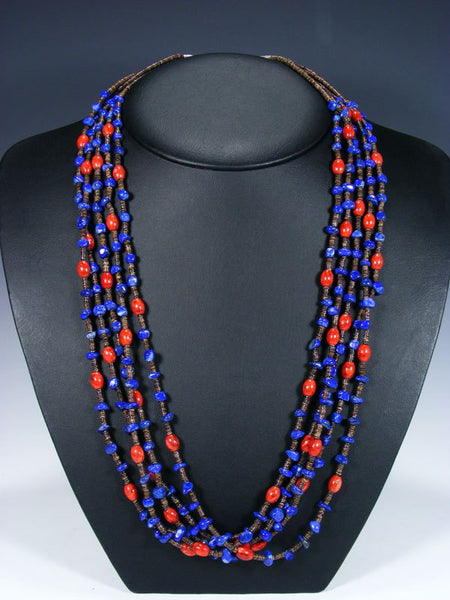 Native American Lapis and Coral Five Strand Necklace
