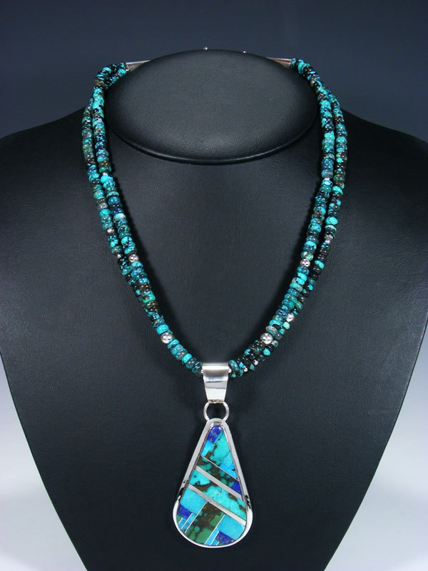 Native American Indian Santo Domingo Turquoise Necklace with Pendant