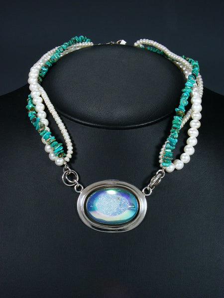 Native American Mother of Pearl and Turquoise Triple Strand Choker Necklace