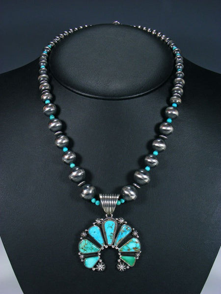 Native American Royston Turquoise Naja Pendant With Bead Necklace