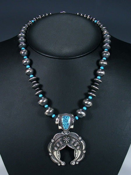 Native American Natural Kingman Blackweb Turquoise Naja Necklace Set